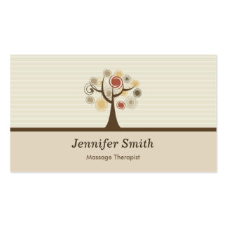 Terapeuta del masaje - tema natural elegante tarjetas de visita