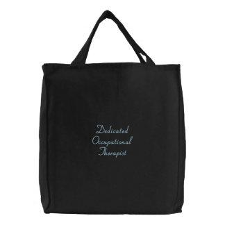 Terapeuta profesional dedicado bolsa de tela bordada