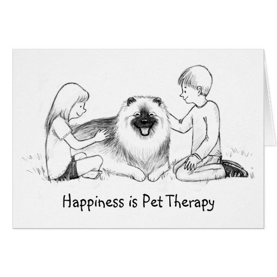 Terapia del mascota del Keeshond con el texto Tarjeta Pequeña