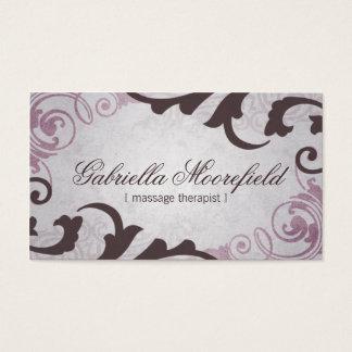 Terapia púrpura del masaje del vintage tarjeta de visita