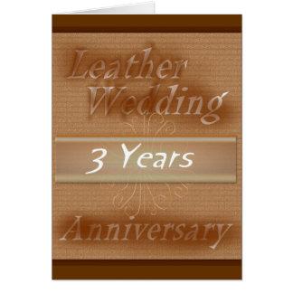 Tercer cuero del ~ del aniversario de boda tarjeta de felicitación