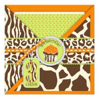 Tercer cumpleaños anaranjado del safari y de la ma invitación personalizada