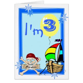 Tercer cumpleaños tarjeta de felicitación
