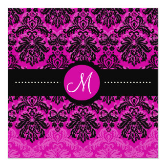 Terciopelo rosado negro de PixDezines Piqué Invitación 13,3 Cm X 13,3cm
