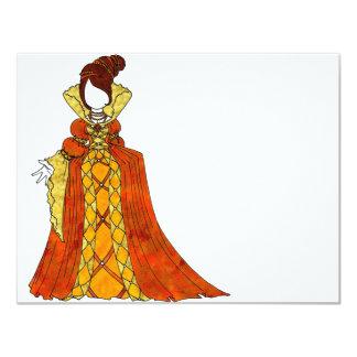 Terciopelo y vestido anaranjados de las perlas invitación 10,8 x 13,9 cm
