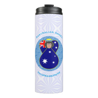 Termo Ángel australiano en el cuadrado Squiggly blanco y