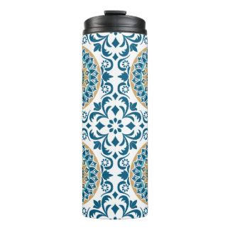 Termo Azul, Brown y blanco decorativos orientales del