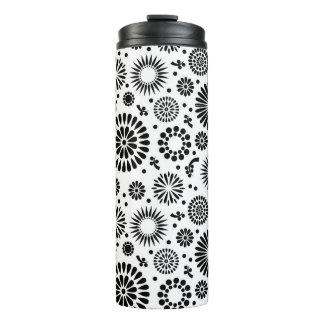 Termo Boho florece el estampado de flores blanco y negro