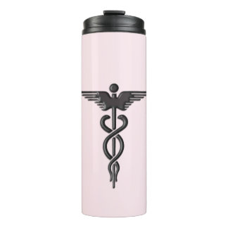 Termo Caduceo médico en rosa