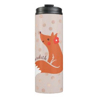 Termo El Fox lindo con la flor/se ruboriza fondo del