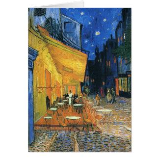 Terraza del café en la noche tarjeta de felicitación
