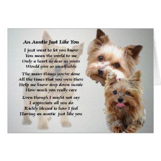Terrier de tía Poem - de Yorkshire Tarjeta De Felicitación
