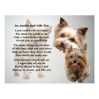 Terrier de tía Poem - de Yorkshire Tarjeta Postal