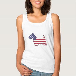 """Terrier escocés - """"bandera americana """" camiseta con tirantes"""