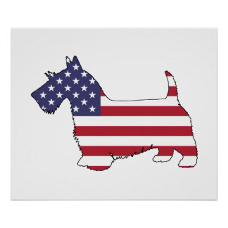 "Terrier escocés - ""bandera americana "" póster"