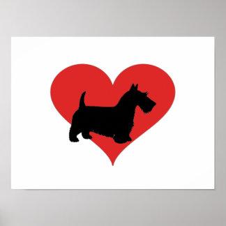 terrier escocés con un corazón rojo grande póster