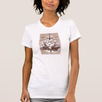 Teshirt de la libélula y de Lotus Camiseta