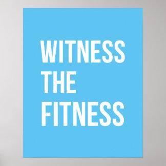 Testigo de la cita de entrenamiento el blanco azul póster