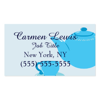 Tetera azul clásica tarjetas de visita
