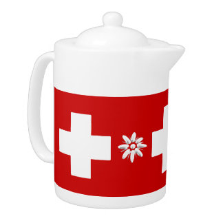 Tetera Bandera y edelweiss suizos