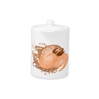 Tetera Cangrejo anaranjado del horóscopo del cáncer