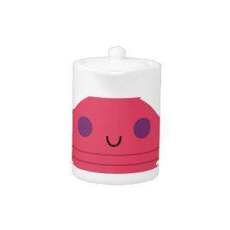 Tetera Cangrejo rosado en blanco