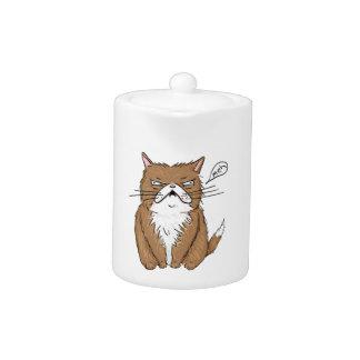 Tetera Dibujo gruñón divertido del gato de Meh