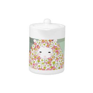 Tetera Diseño florido de las ovejas del tono en colores