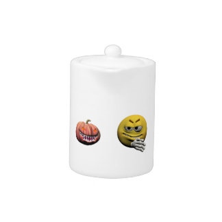 Tetera Emoticon amarillo o smiley de Halloween