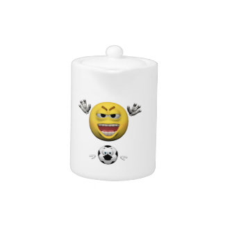 Tetera Emoticon amarillo o smiley del fútbol