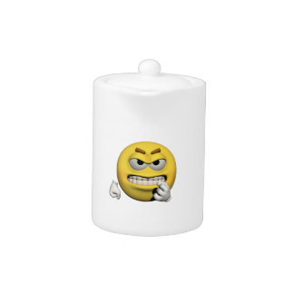 Tetera Emoticon enojado amarillo o smiley