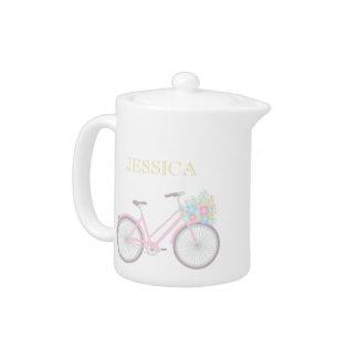 Tetera en colores pastel linda de la bicicleta de