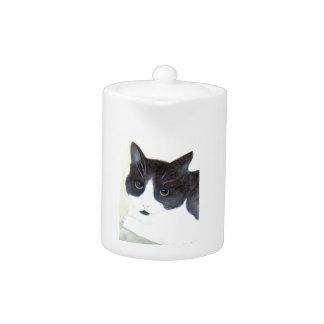 Tetera Gato blanco y negro