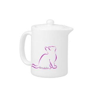 Tetera Gato rosado, silueta, texto interior