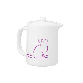 Tetera Gato rosado, terraplén blanco