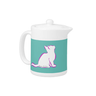 Tetera Gato rosado, terraplén blanco, texto interior