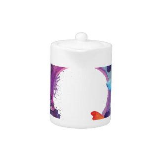 Tetera Mariposas en colores pastel de la acuarela