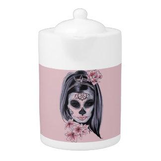 Tetera Máscara del esqueleto de la mujer
