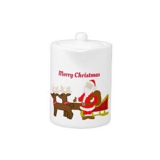 Tetera Papá Noel en el trineo del navidad