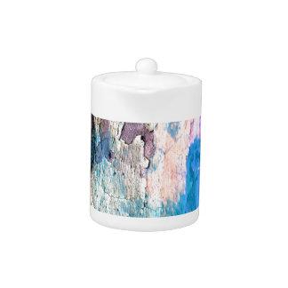 Tetera Pintura de la peladura en azul, púrpura, rosa