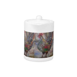 Tetera Pintura del gallo de Key West en un pote del té