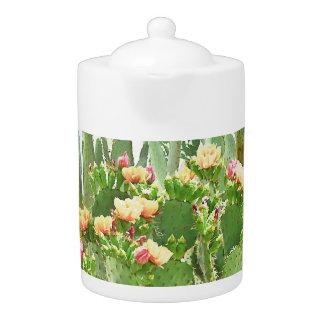 Tetera Pote anaranjado del té de las floraciones del