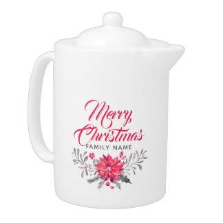 Tetera Tipografía de las Felices Navidad y flores del