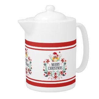 Tetera Tipografía de las Felices Navidad y guirnalda del
