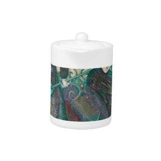 Tetera Verde del trullo del mar del océano del unicornio