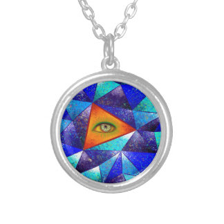 Tethrous V1 - triángulo de observación Collar Plateado