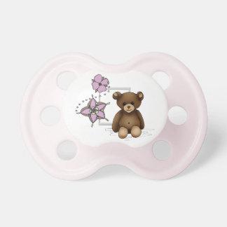Tetina blanca y rosada con nounours y flores chupetes de bebe