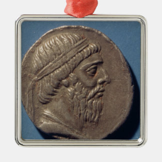 Tetracrachm de Mithradates I Adorno Navideño Cuadrado De Metal