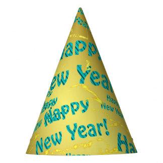 texto azul de la Feliz Año Nuevo en gorra del