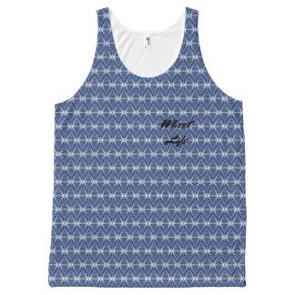 Texto azul del personalizado del modelo de la camiseta de tirantes con estampado integral
